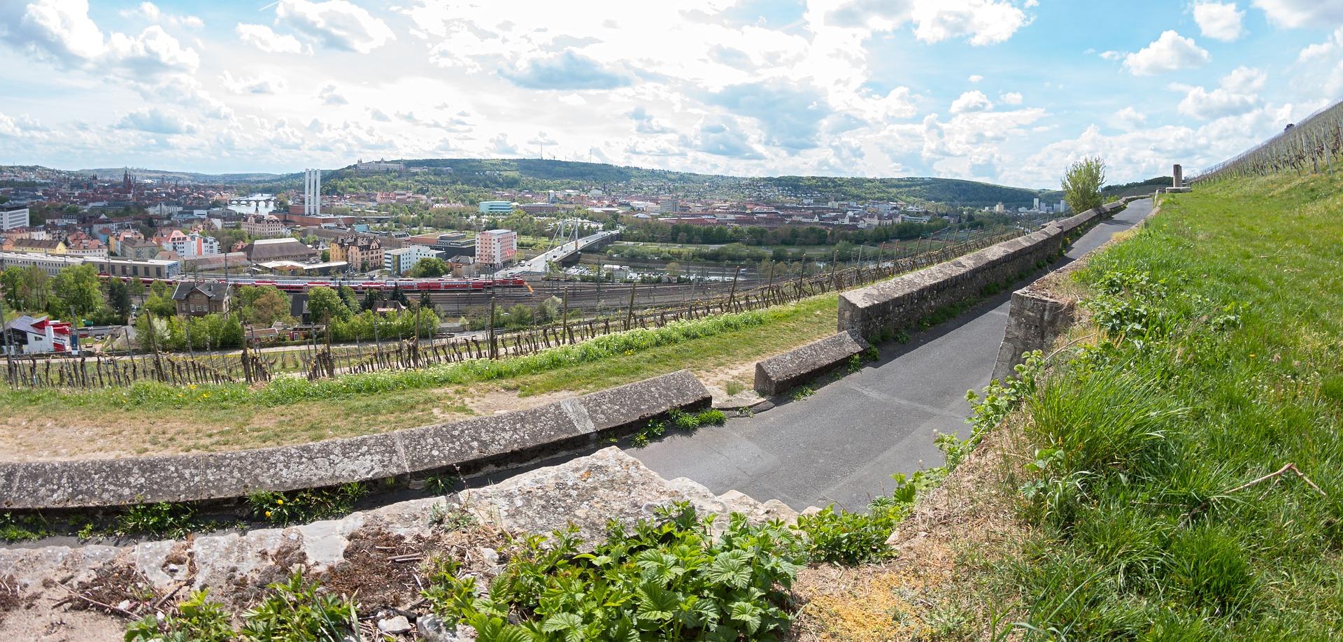 Blick von den Würzburger Weinbergen über die Stadt