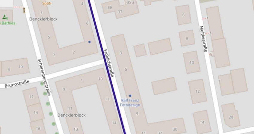 Mögliche Einbahnstraßenregelung in der Fröhlichstraße
