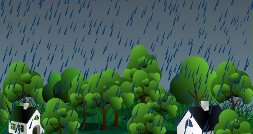 Häuser im Regen