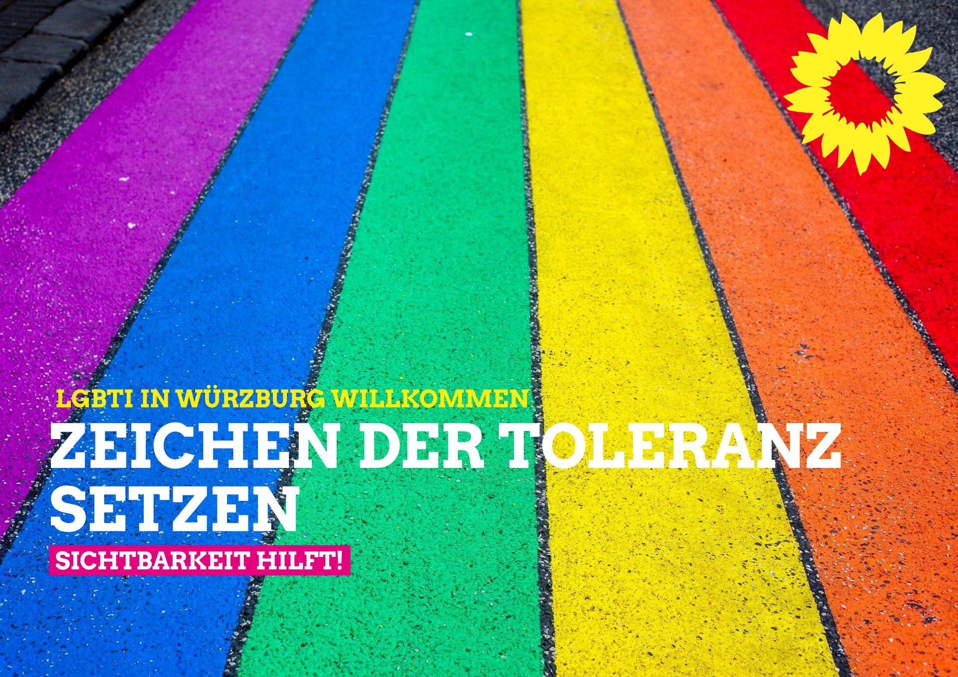 LGBTI in Würzburg willkommen. Zeichen der Tolernaz setzen. Sichtbarkeit hilft!